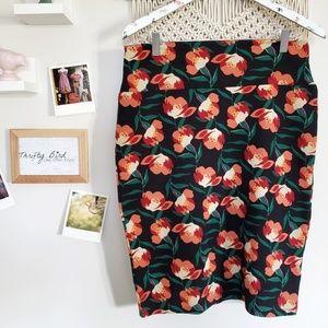 Lularoe Cassie floral stretch pencil skirt large